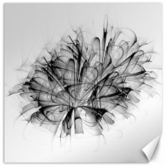 Fractal Black Flower Canvas 12  X 12
