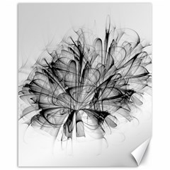 Fractal Black Flower Canvas 16  X 20