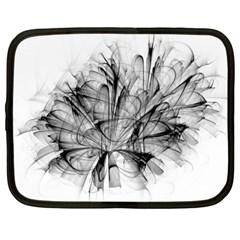 Fractal Black Flower Netbook Case (Large)