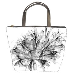Fractal Black Flower Bucket Bags
