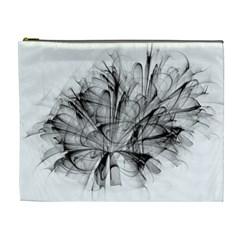 Fractal Black Flower Cosmetic Bag (XL)