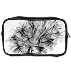 Fractal Black Flower Toiletries Bags 2-Side