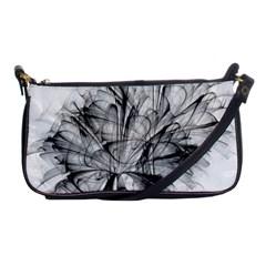 Fractal Black Flower Shoulder Clutch Bags