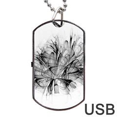 Fractal Black Flower Dog Tag USB Flash (Two Sides)