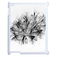 Fractal Black Flower Apple iPad 2 Case (White)