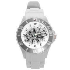 Fractal Black Flower Round Plastic Sport Watch (L)