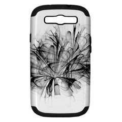 Fractal Black Flower Samsung Galaxy S III Hardshell Case (PC+Silicone)