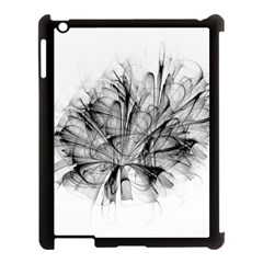Fractal Black Flower Apple iPad 3/4 Case (Black)