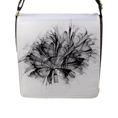 Fractal Black Flower Flap Messenger Bag (l)