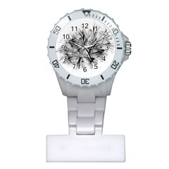 Fractal Black Flower Plastic Nurses Watch