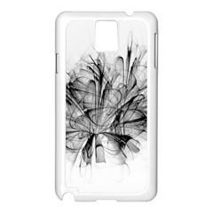 Fractal Black Flower Samsung Galaxy Note 3 N9005 Case (White)
