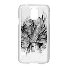 Fractal Black Flower Samsung Galaxy S5 Case (White)