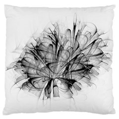 Fractal Black Flower Large Flano Cushion Case (Two Sides)