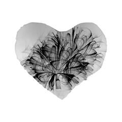 Fractal Black Flower Standard 16  Premium Flano Heart Shape Cushions