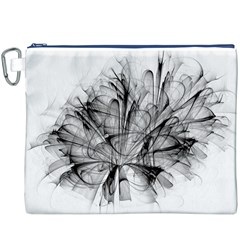 Fractal Black Flower Canvas Cosmetic Bag (XXXL)