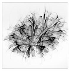Fractal Black Flower Large Satin Scarf (square)