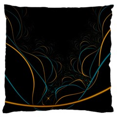 Fractal Lines Large Flano Cushion Case (One Side)