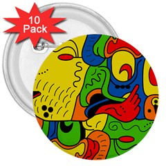 Mexico 3  Buttons (10 pack)
