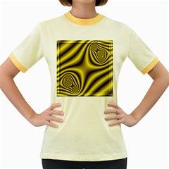 Yellow Fractal Women s Fitted Ringer T Shirts