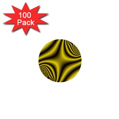 Yellow Fractal 1  Mini Buttons (100 Pack)