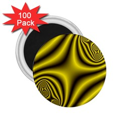Yellow Fractal 2 25  Magnets (100 Pack)