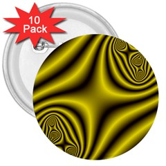 Yellow Fractal 3  Buttons (10 Pack)