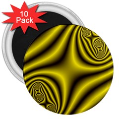 Yellow Fractal 3  Magnets (10 pack)
