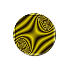 Yellow Fractal Rubber Coaster (Round)