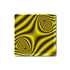 Yellow Fractal Square Magnet