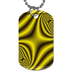 Yellow Fractal Dog Tag (One Side)
