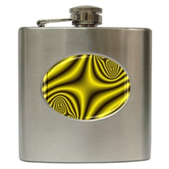 Yellow Fractal Hip Flask (6 Oz)