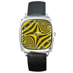 Yellow Fractal Square Metal Watch
