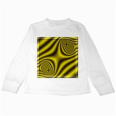 Yellow Fractal Kids Long Sleeve T-Shirts