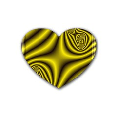 Yellow Fractal Heart Coaster (4 Pack)