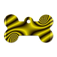 Yellow Fractal Dog Tag Bone (One Side)