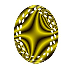 Yellow Fractal Oval Filigree Ornament (Two Sides)