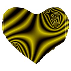 Yellow Fractal Large 19  Premium Heart Shape Cushions