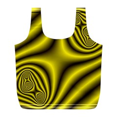 Yellow Fractal Full Print Recycle Bags (L)