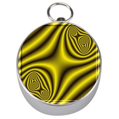 Yellow Fractal Silver Compasses