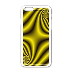 Yellow Fractal Apple iPhone 6/6S White Enamel Case