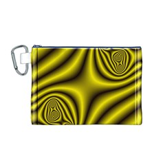Yellow Fractal Canvas Cosmetic Bag (M)