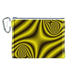 Yellow Fractal Canvas Cosmetic Bag (L)