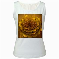 Yellow Flower Women s White Tank Top