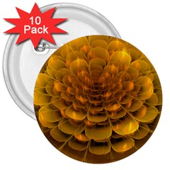 Yellow Flower 3  Buttons (10 Pack)
