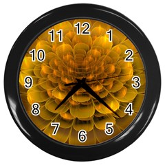 Yellow Flower Wall Clocks (Black)
