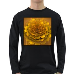 Yellow Flower Long Sleeve Dark T-Shirts
