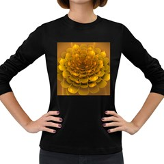Yellow Flower Women s Long Sleeve Dark T-Shirts