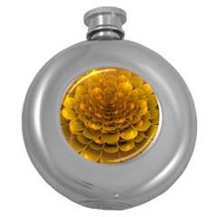 Yellow Flower Round Hip Flask (5 Oz)