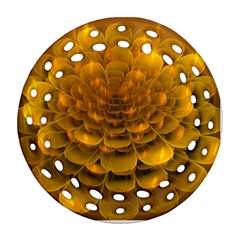 Yellow Flower Round Filigree Ornament (Two Sides)