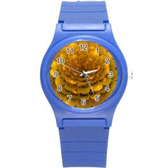 Yellow Flower Round Plastic Sport Watch (S)